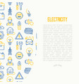 electricity concept with thin line icons vector image vector image