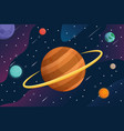 galaxy with cartoon planets in space background vector image vector image