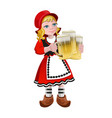 girl holding the beer glasses vector image vector image