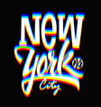 glitch new york city label typographic design vector image vector image