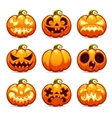 Halloween Cartoon Pumpkins Icons Set vector image vector image