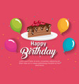 happy birthday cake portion with balloons air vector image vector image