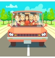 Happy family traveling by car driving on road vector image