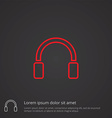 headphones outline symbol red on dark background vector image
