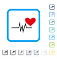 heart pulse signal framed icon vector image vector image