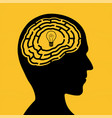 human head with a maze and light bulb vector image vector image