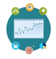 Icons of financial analytics charts and graphs vector image vector image