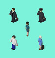 isometric person set of male investor detective vector image vector image