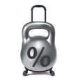 kettlebell like travel suitcase debt and loan vector image vector image