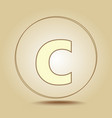 letter c lowercase round golden icon on light vector image