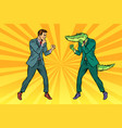 man boxing fights with crocodile reptiloid vector image vector image