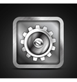 Mobile app icon - metallic gear icon design vector image vector image