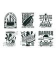 monochrome vintage barber shop logos set vector image vector image