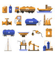 natural gas and oil industry icons with petroleum vector image vector image