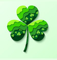 paper cutting green shamrock isolated vector image