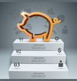 Pig money stair ladder - business infographic
