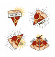 Pizzeria logotypes set collection different