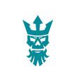 poseidon skull wearing crown icon vector image vector image