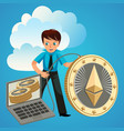 process of ethereum cryptocoins mining flat poster vector image vector image