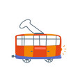 red electric tram sife view cartoon vector image