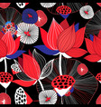 seamless bright floral background with red lotuses vector image vector image