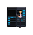 server room with data center storage vector image