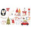 set christmas characters hugs vector image vector image