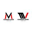 set initial letter mv logo template design vector image vector image