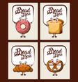 set of kawaii bread fresh cartoon vector image vector image