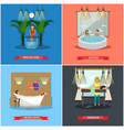 set of spa therapy concept posters in flat vector image vector image
