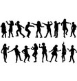 silhouettes children dancing vector image vector image