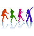 Silhouettes of little girls vector image vector image
