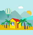 summer vacation - sea palm tree sun and beach vector image vector image