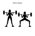 sumo squats exercise silhouette vector image vector image