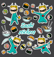 sushi stickers pattern vector image vector image