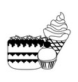 sweets and desserts in black and white vector image vector image