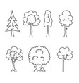 tree icons doodle trees symbols vector image vector image