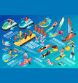 water sport isometric infographics vector image vector image