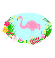 flamingo and tropical flowers vector image