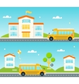 Road to and from school School bus building vector image