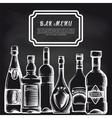 Bottles on chalkboard bar menu background vector image