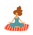 a young woman practices yoga on the carpet girl vector image