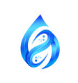 blue leaf and water drop logo template vector image vector image