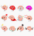 brain cartoon characters making sport exercises vector image vector image