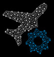 bright mesh 2d airplane options gear with flare vector image vector image