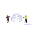 businessman giving keys to repairman house vector image