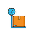 cardboard box on scale logistic cargo delivery vector image