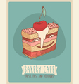 Cerry piece of cake Happy Birthday sweet cupcakes vector image vector image