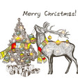 christmas card with deer holding bauble vector image vector image