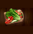 composition lettuce tomatoes and bell pepper vector image vector image